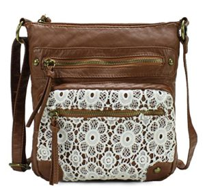 Scarleton Chic Lace Style Crossbody Bag H1912 High quality synthetic washed  vegan leather and lace with fabric lining. Classic bronze-toned hardware. 15b384c44160a